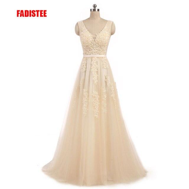 חדש הגעה אלגנטי שמפניה כלה שמלת Vestido דה Festa אפליקציות רוכסן אונליין שמלה לטאטא רכבת קשת שמלת תחרה סגנון