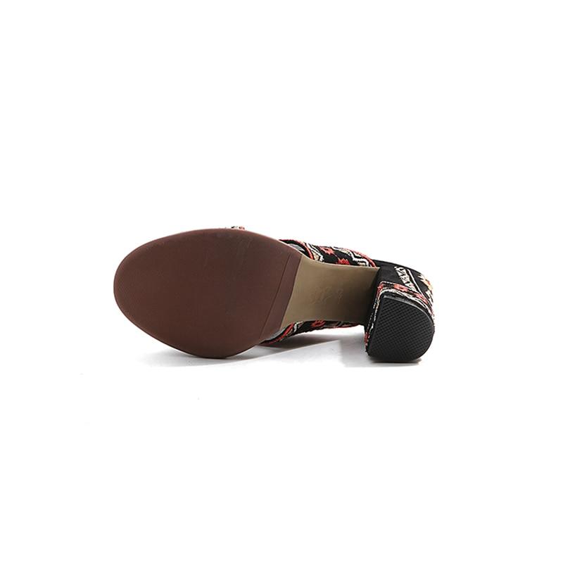 Del Peep Mujer Toe Bordado Negro Moda Tacones Étnico Diapositivas Mujeres Estilo Sandalias Verano Altos Zapatos Nueva 2018 Kcenid HvwZzz