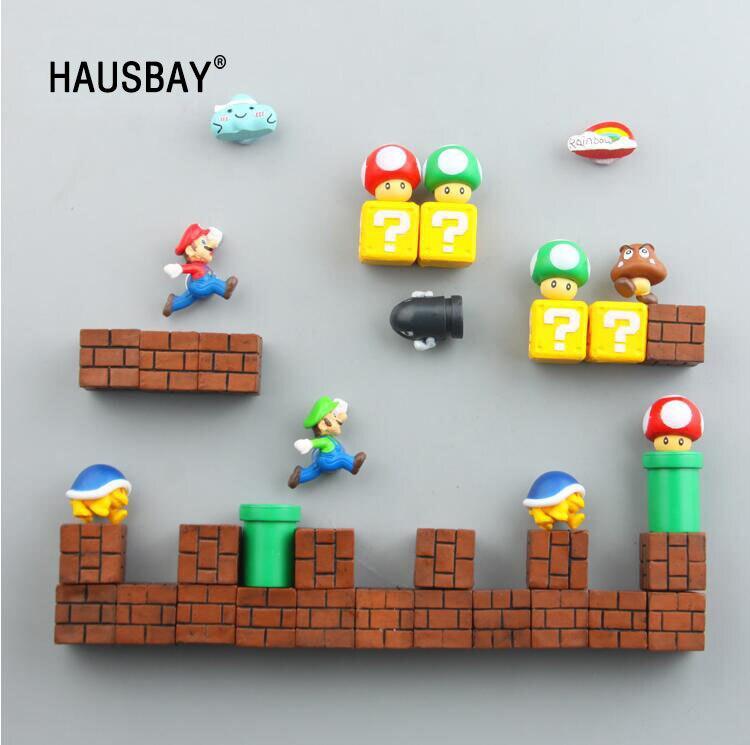 3D Nette Super Mario Harz Kühlschrank Magneten Spielzeug für Kinder Hause Dekoration Ornamente Figuren Wand Mario Magnet Kugeln Ziegel 1389