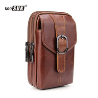 Genuine leather waist packs fanny pack men cigarette purse male military waist belt bag casual multifunction mobile phone pouch