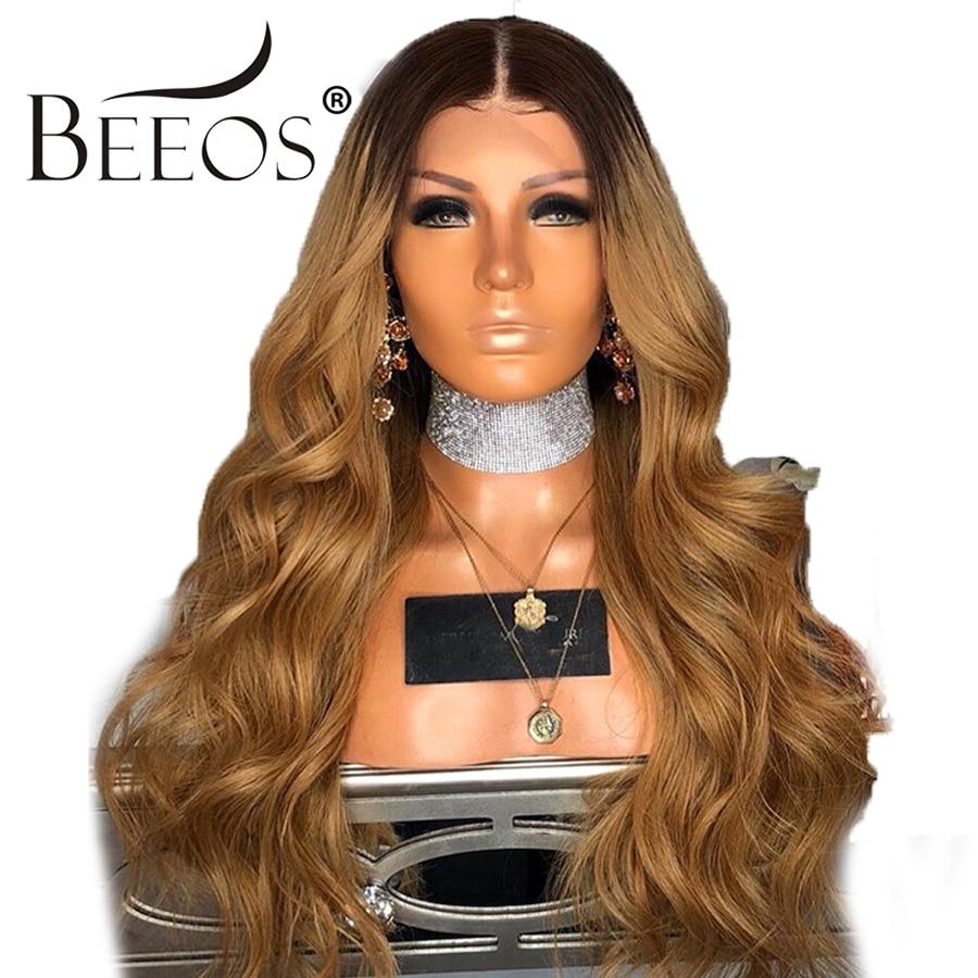 BEEOS Ombre Мёд блондинка Цвет 13*4 Кружева спереди парики предварительно сорвал волнистые здоровые волосы перуанский натуральные волосы парики ...