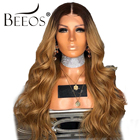 BEEOS Ombre Honey Blonde Color lace Front Wigs Pre Plucked Wavy Remy Hair Peruvian Human Hair Wigs With Baby Hair