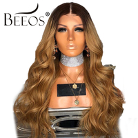 BEEOS Ombre Honey Blonde Color 13*4 lace Front Wigs Pre Plucked Wavy Remy Hair Peruvian Human Hair Wigs With Baby Hair