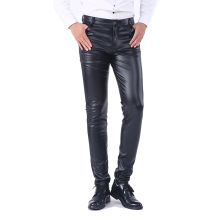 Idopy мужские деловые узкие брюки с пятью карманами, эластичные удобные черные однотонные брюки из искусственной кожи, джинсы, брюки для мужчин