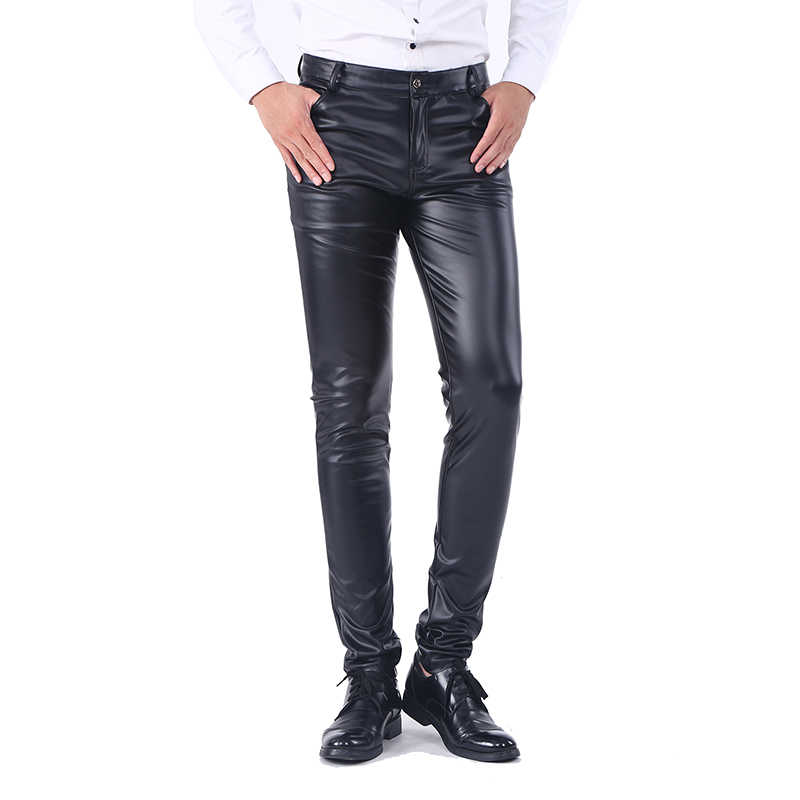 Idopy Men`s Business Slim Fit Five Pockets Stretchy Comfy Black Solid Faux Leather Pants Jeans Trousers For Men
