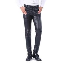 68e7e6fcf28 Idopy Men`s Business Slim Fit Five Pockets Stretchy Comfy Black Solid Faux  Leather Pants