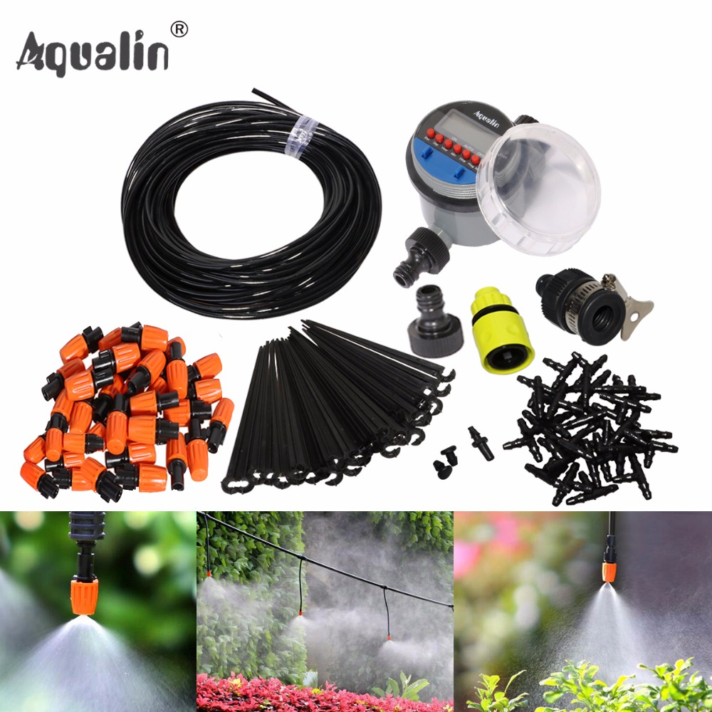 25m Automatic Micro Drip Irrigation System Garden Irrigation Spray Self Watering Kits with Adjustable Dripper #21026I
