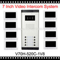 white video phone doorbell unlock 7 inch 100 meter doorphone wired home intercom system with 8 colorful monitor and 1 ir camera