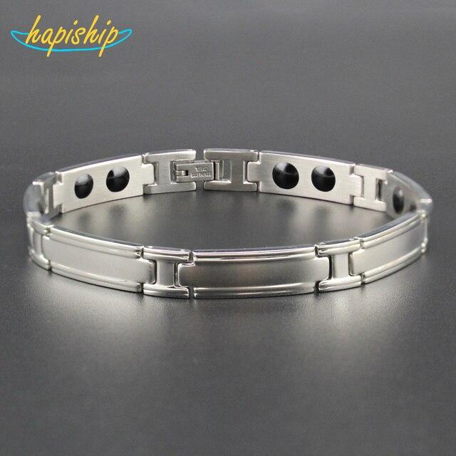 Hapiship 2018 New Women/Men's Silver 14 Germanium Cell Stainless Steel Bracelet Bangle for Gentleman Drop Shipping TG04630