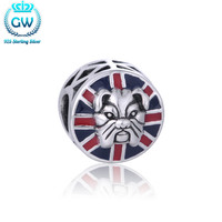 Bulldog Enamel Charm Silver 925 Jewelry Fits Bracelet Women Silver Necklace Beads & Diy Jewelery Making Brand GW D187 50