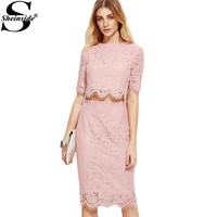 Sheinside Vintage Lace Dress Women Pink Open Midriff Floral Lace Summer Party Dresses 2017 Zip Back