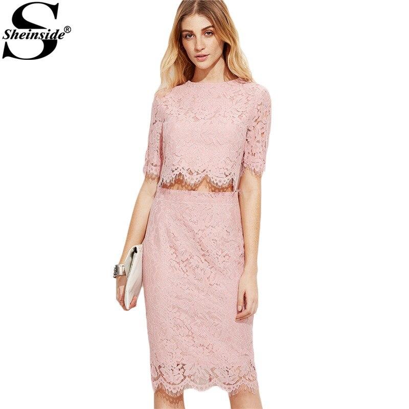 Sheinside vintage lace dress mujeres rosa vientre abierto de encaje floral del v
