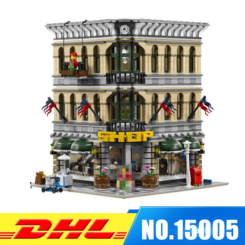 DHL NEW 2232Pcs LEPIN 15005 City Grand Emporium Model Building Blocks Bricks Develop intelligence Toys Compatible With 10211 dhl new 2418pcs lepin 15010 city street parisian restaurant model building blocks bricks intelligence toys compatible with 10243