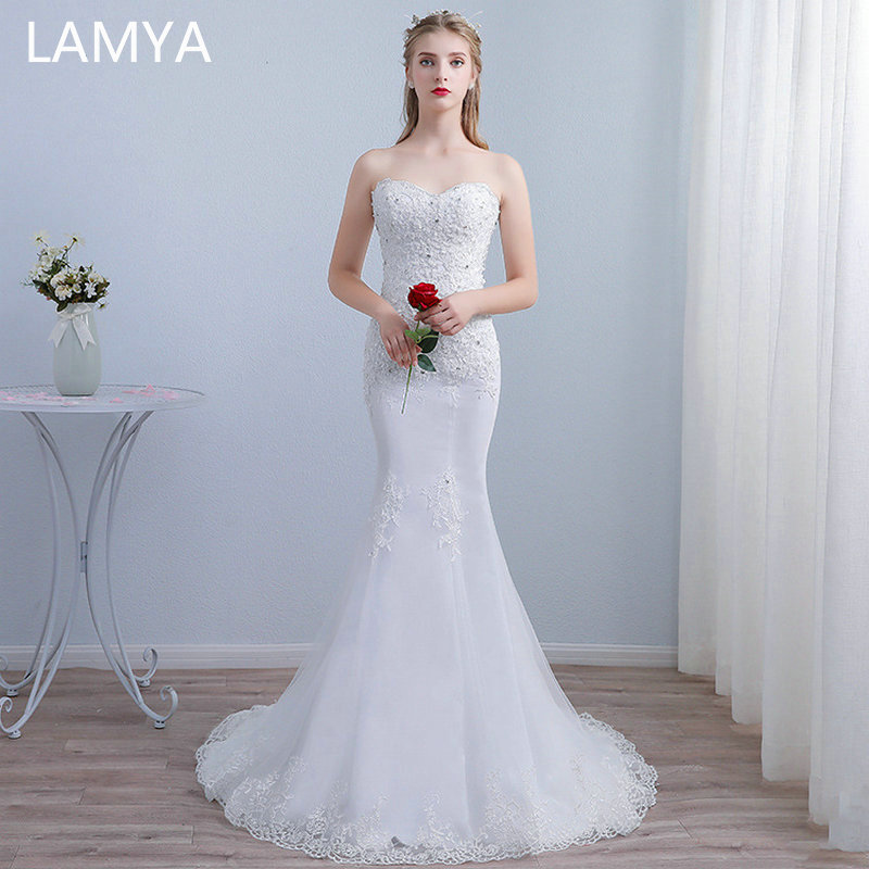 LAMYA Slim Waist Court Train Mermaid Wedding Dresses Sweetheart Bridal Gown Customized Wedding Dress vestidos de noiva in Wedding Dresses from Weddings Events