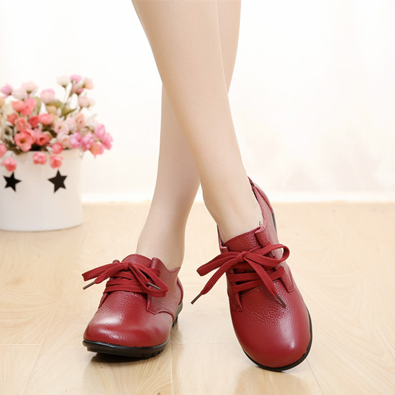 PEIPAH Women Flats Shoes Genuine Leather Spring Autumn Lace Up Round Toe Casual Flat Shoes Women
