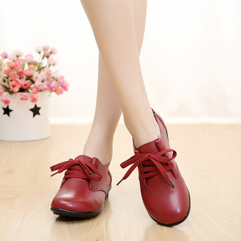 PEIPAH Women Flats Shoes Genuine Leather Spring Autumn Lace Up Round Toe Casual Flat Shoes