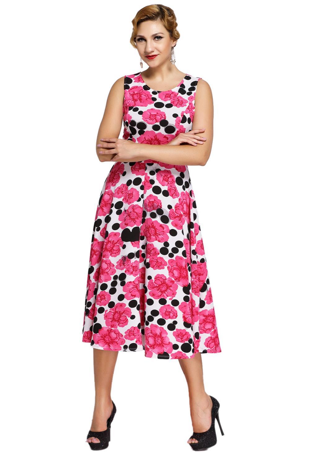 ⊱Floral rosado femenino negro del vintage del oscilación Vestido ...