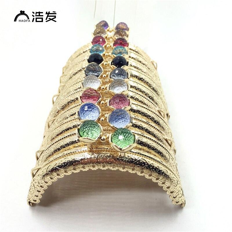 Haofa 10pcs Fashion Bag Accessories 10colours Lotus Flower Head 8.5cm Metal Coin Purse Frames Kiss Clasps Purse Handles