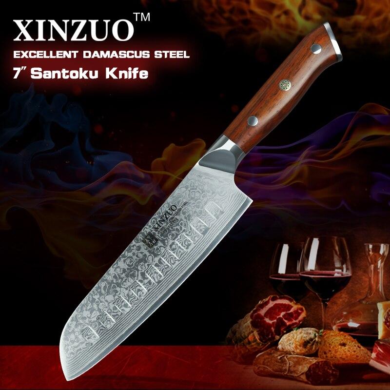XINZUO 7 ''дюймовый Santoku кухонные ножи 73 слоев Дамасская Сталь Шеф повара дело с мясом фрукты овощи Палисандр Ручка