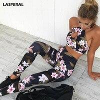 LASPERAL 2017 Floral Impresso Oco Out Sexy Halter Bra Yoga Esporte Treino das Mulheres Legging Calças Justas Correndo Ginásio de Fitness Yoga conjunto