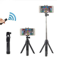 Handheld & mini Tripod 3 in 1 Self-portrait Monopod Phone Selfie Stick w Bluetooth Remote Shutter for iPhone Sumsang Gopro