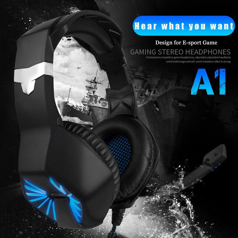 """תאורה אחורית 3.5 מ""""מ Gaming Headset Gaming אוזניות סטריאו גיימר מיקרופון אוזניות מיקרופון Led תאורה אחורית משחק אוזניות עבור PC PS4 טלפונים מחשבים (4)"""
