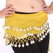 Women Belly Dance Dancing 3 Rows Hip Skirt Scarf Wrap Belt Hipscarf with 128 Coins