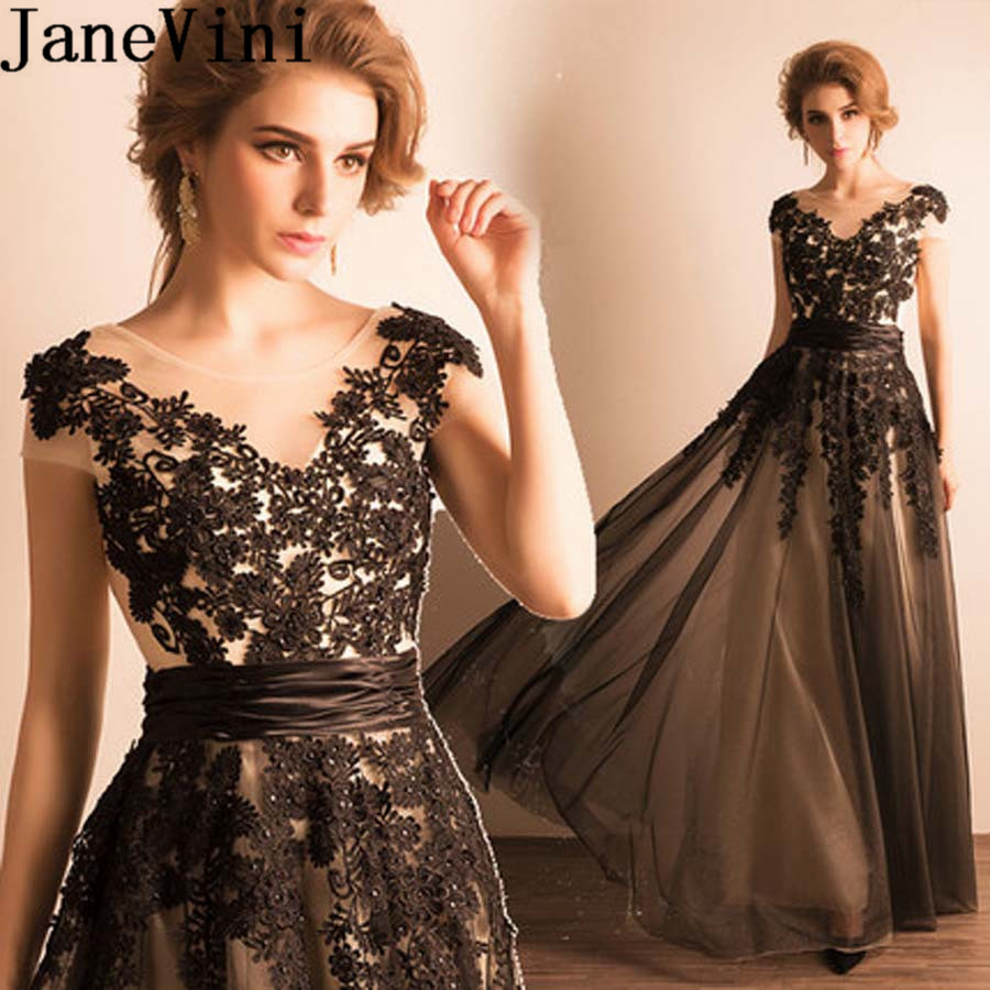 JaneVini Lebanon Black Lace Evening Dress Long Beaded Appliques Formal Gowns Tulle Brides Mother Dresses For Weddings Avond Jurk