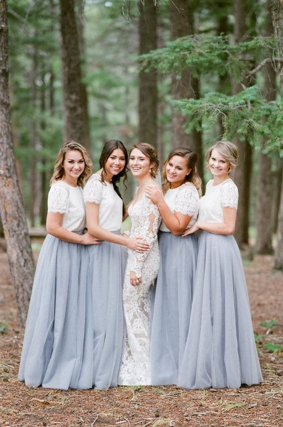 Dusty Blue Bridesmaid Dresses Tulle Long Plus Size Maid of Honor Gowns for Weddings  Applique Tulle Wedding Guest Dress Cheap-in Bridesmaid Dresses from ... c2bca5a2c08f