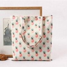 2018 New Cartoon Fruit Pineapple Printed Canvas Cotton Tote Bags Eco Shopping Beach Bags Women Girl Shoulder Handbags