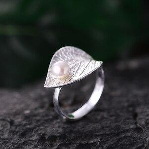 Image 3 - Lotus Plezier Echte 925 Sterling Zilver Natuurlijke Parel 18K Bladgoud Ring Fijne Sieraden Creatieve Open Ringen Voor Vrouwen kerstcadeau