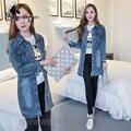 WomensDate 2016 Novas Mulheres-Coreano de mangas compridas Cintura Fina Era Fina E Longas Seções Blusão Lapela Denim Trench Coat