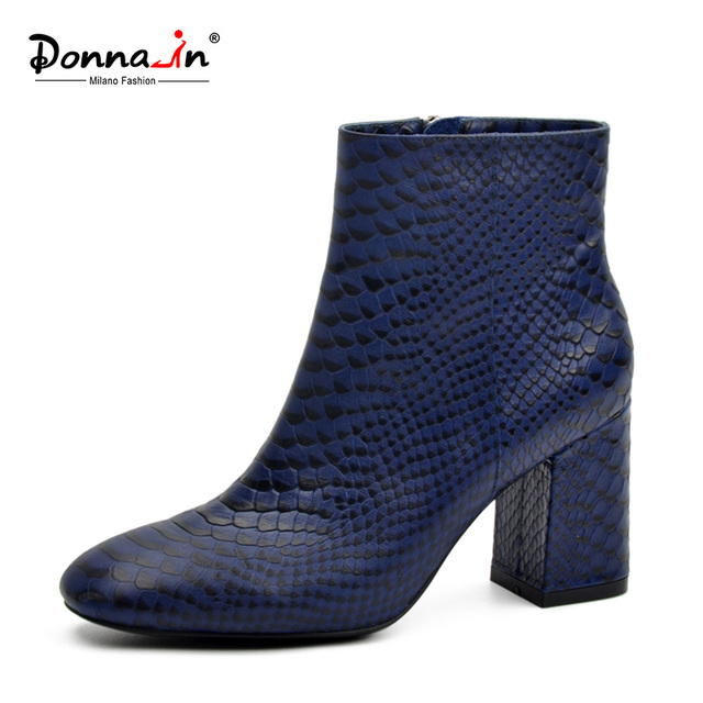 Donna-2018 новые ботильоны Сексуальная змеиной кожи женская обувь квадратный носок толстый высокий каблук python тисненая натуральная кожа сапоги