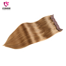 VSR Halo Fish Line Hair Machine Made Remy Human Hair Invisible Wire Flip in Hair Extension blonde color