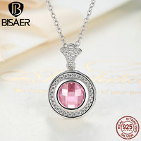 BISAER Authentic 100 925 Sterling Silver Necklaces Pendants Pink Clear CZ Necklace For Women Vintage Fine