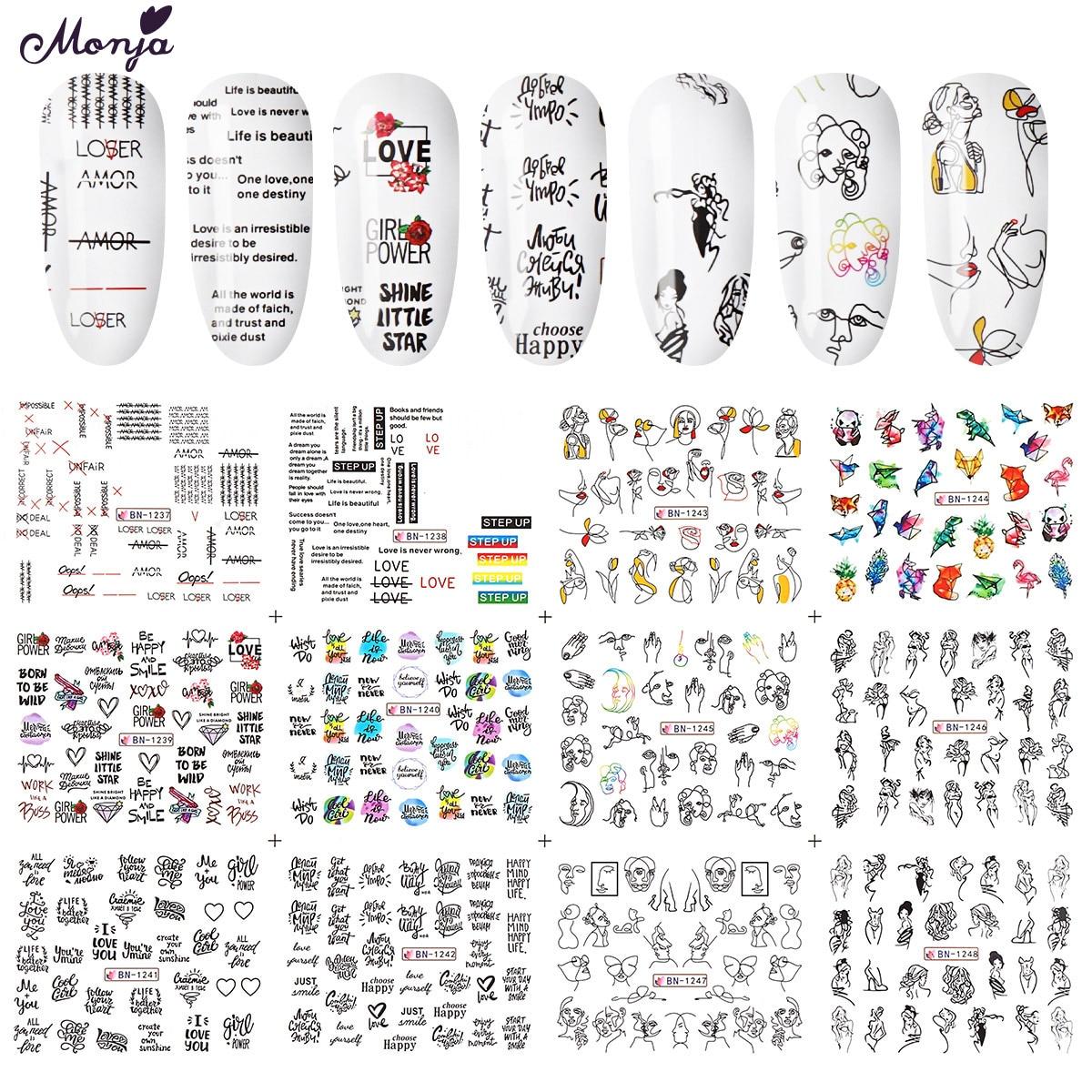 Monja 12 шт., Переводные картинки из фольги для ногтевого дизайна, с животным, английская серия, смешанный дизайн, сделай сам, украшения