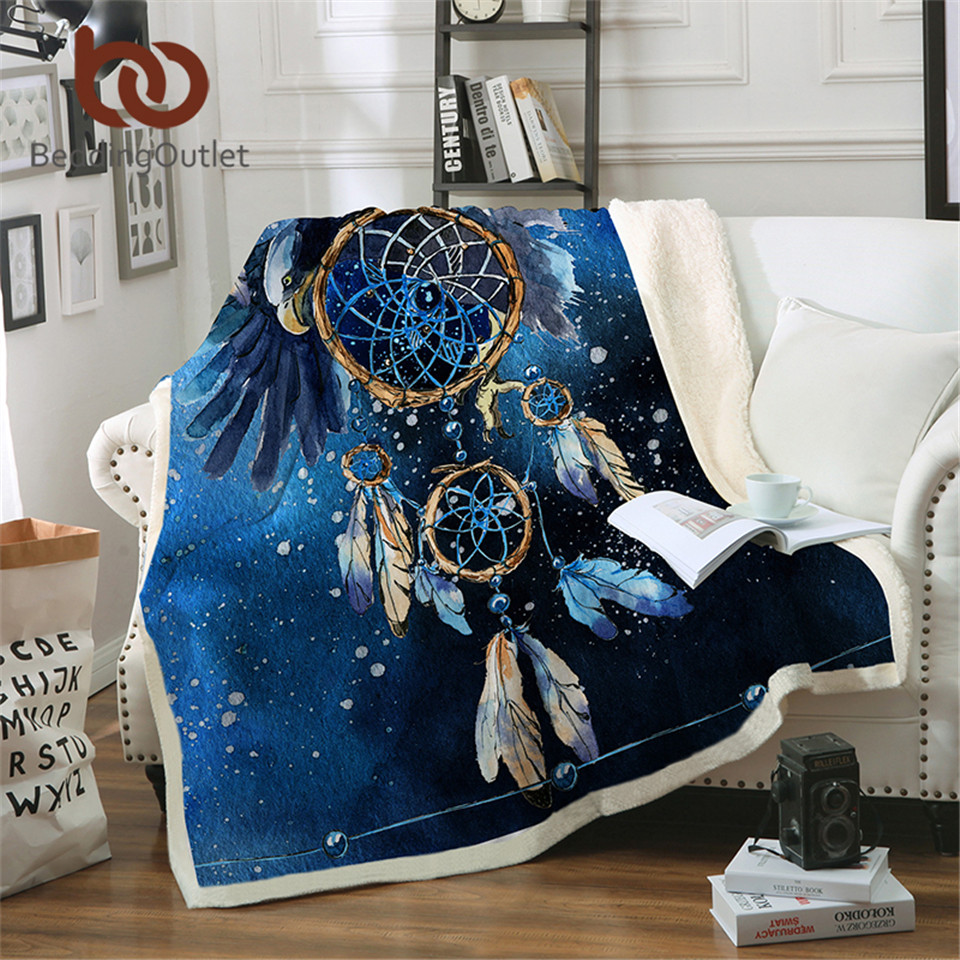 Dreamcatcher BeddingOutlet Sherpa Cobertor Azul Galáxia Águia Veludo Plush Camas Colcha Cobertor mantas de para cama Boêmio