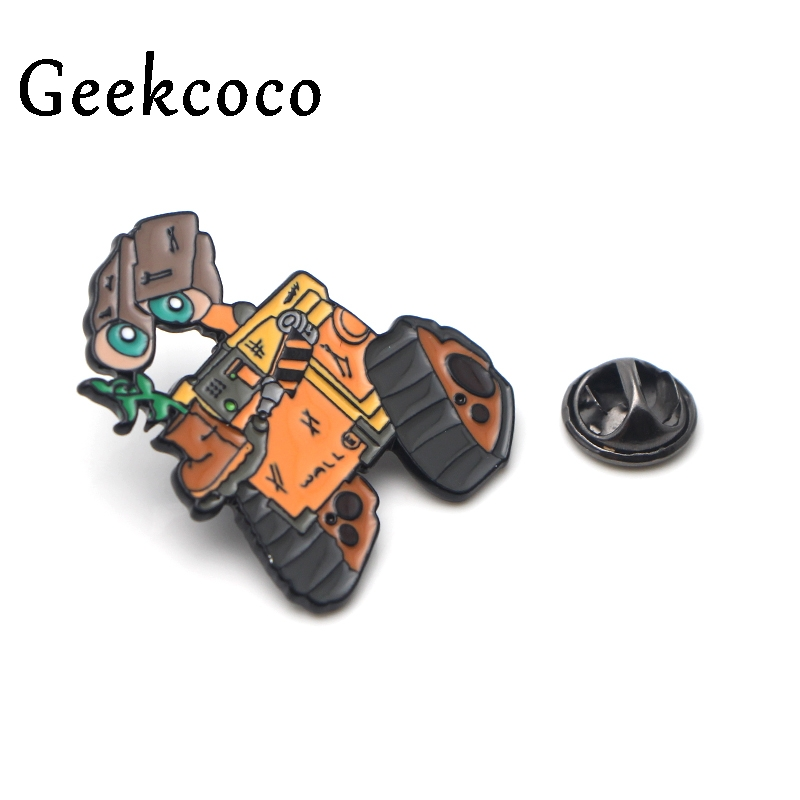 WALL E Robots Cartoon Brooch for men women Pride Enamel Pin medal Cartoon For shirt backpack clothes bag decoration Badges J0140 in Brooches from Jewelry Accessories
