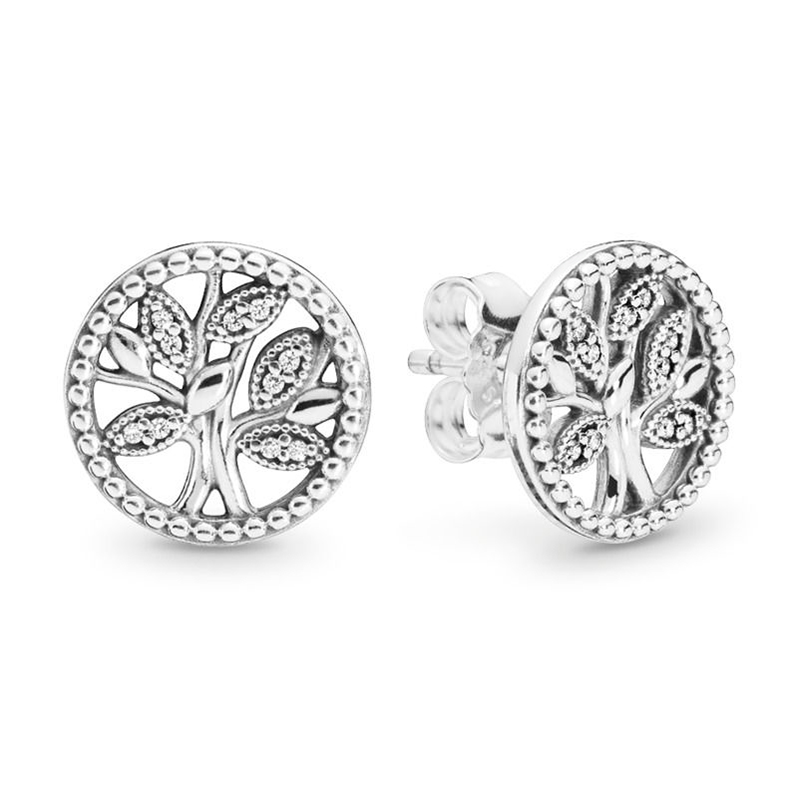2019 NEW 100% 925 Sterling Silver Trees of Life Stud Earrings Classic Pop Clear CZ  Ear Studs Fit DIY Jewelry GIFT Wholesale2019 NEW 100% 925 Sterling Silver Trees of Life Stud Earrings Classic Pop Clear CZ  Ear Studs Fit DIY Jewelry GIFT Wholesale