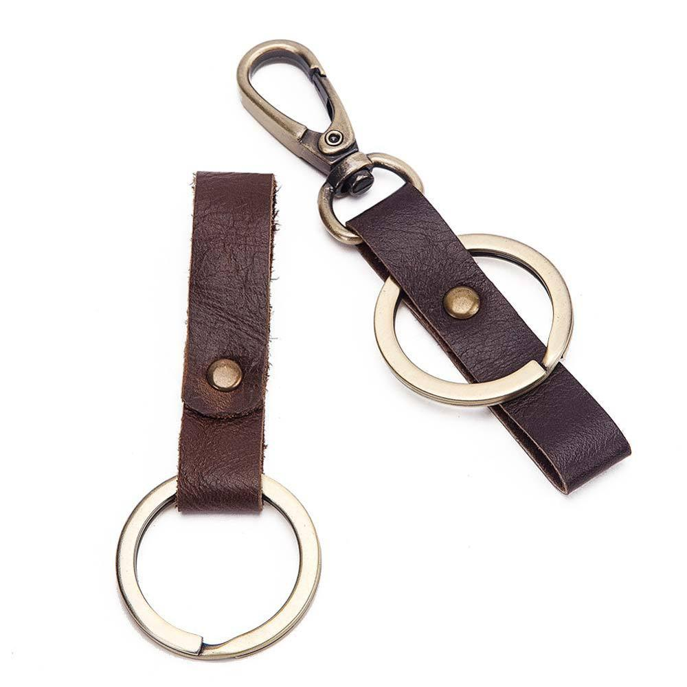 Keychain Genuine Leather Car Key Chain Women Crazy Horse Female Keychain Organizer Holder Case Ladies Key Ring Clip Porta Llaves