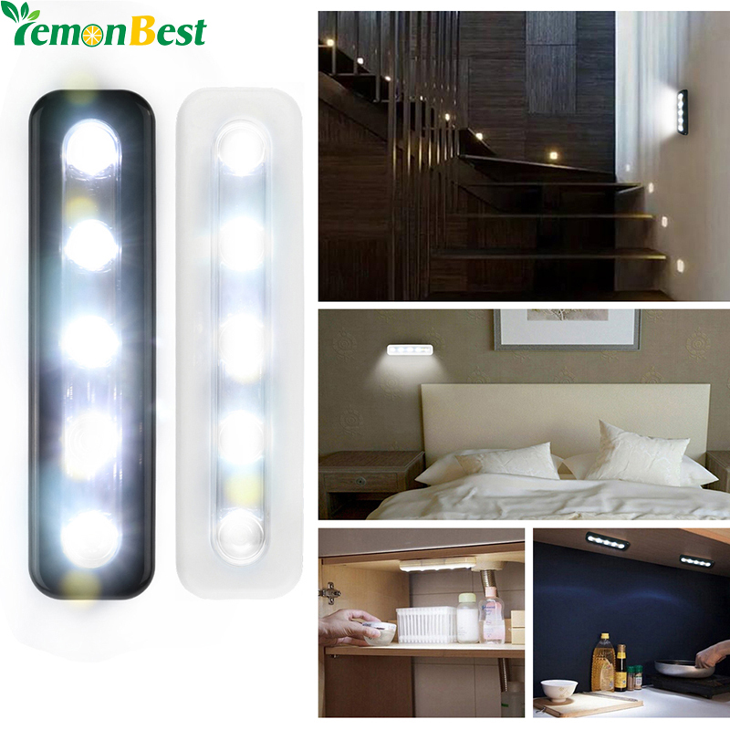 Lemonbest mini wireless wall light closet lamp 5 led night for Wireless closet lighting