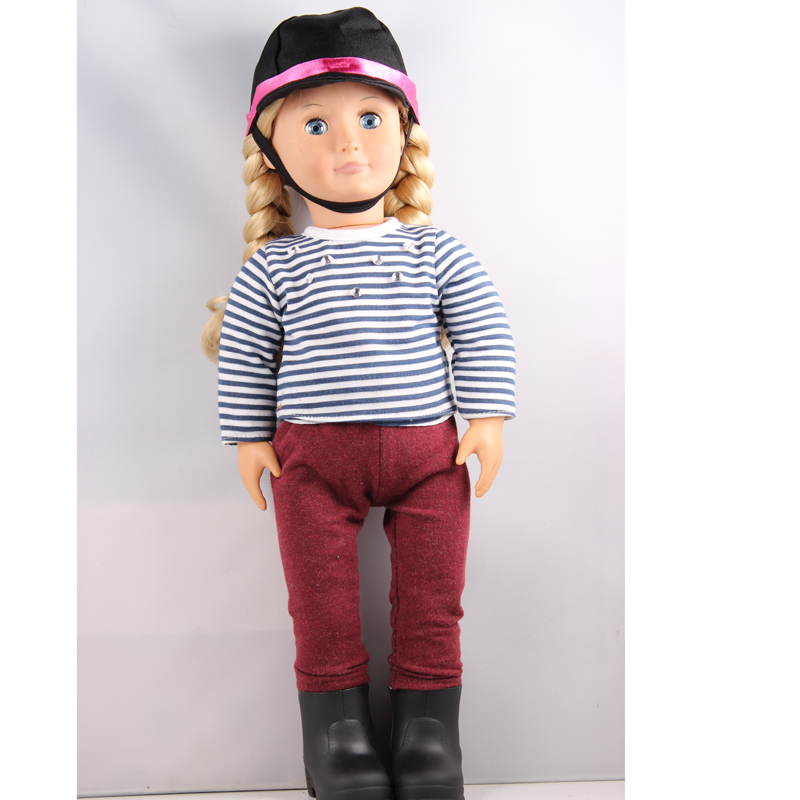 Play Doll 18 inch American Girl doll Our Generation Doll With Riden Clothes And Boots DHL FEDEX UPS Express Free Shpping pink wool coat doll clothes with belt for 18 american girl doll