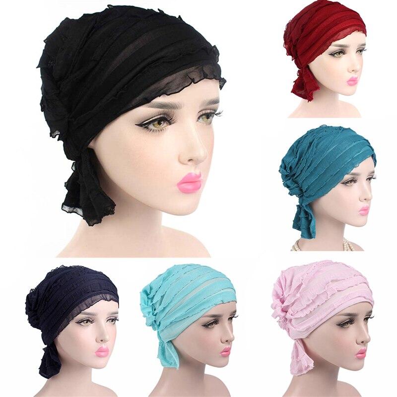 Hot Sale adies Fashion Head Wrap Women Ruffle Chiffon Turban Cap Chemo Hat Beanie Scarf Turban Headwear
