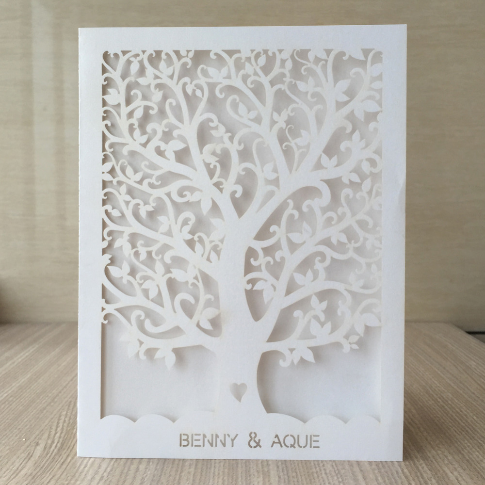 100PCS Love Heart Tree Laser Cut Wedding Invitations Party Table Name Place Cards for Party Souvenirs
