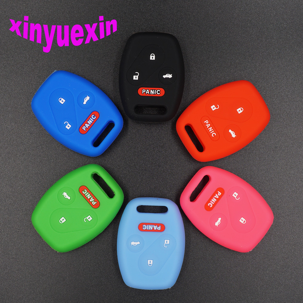 Xinyuexin Silicone Car Key Cover Case For Honda 2003 2008 2009 Accord CR-V Civic Insight Remote Key Jacket Car-stying