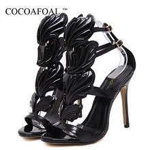 COCOAFOAL Nero Open Toe Tacchi Alti Sandali Delle Donne di Estate Fetish High tacchi Pole Dance Shoes Peep Toe Sexy Tacchi Gladiatore D'oro pompe(China)