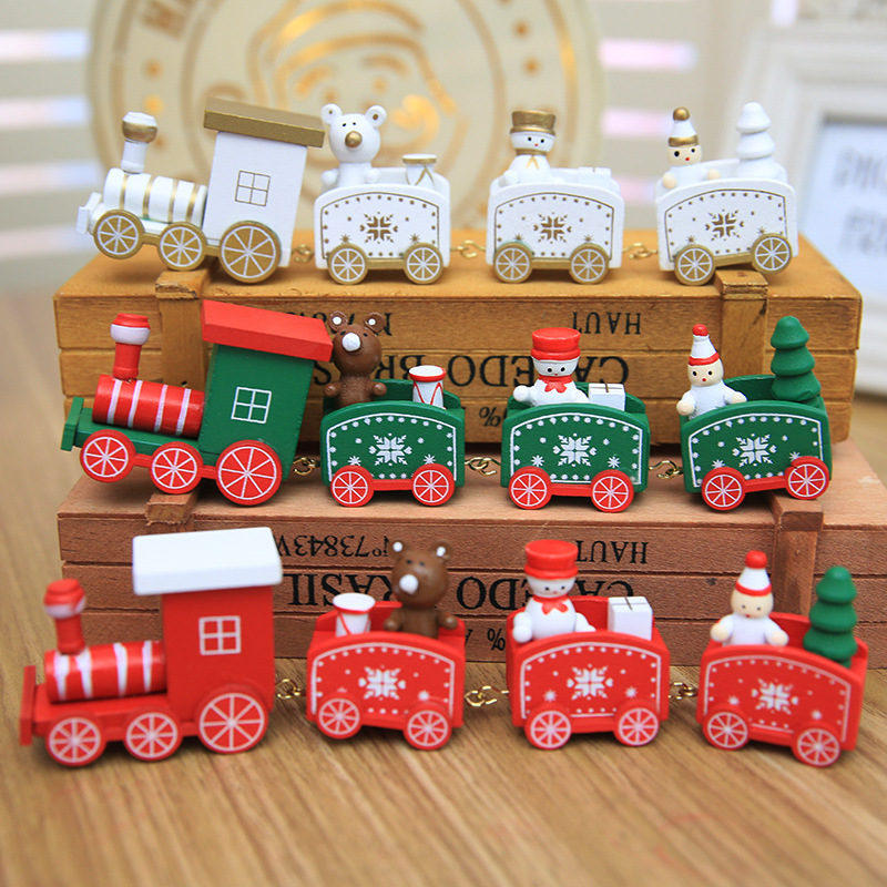 4 Piece Mini Wood Christmas Train Decoration Decor Gift Christmas Xmas Train Sets Model Vehicle Toys Wooden Train For Children