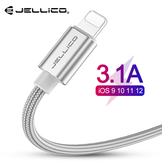 Jellico 3.1A Fast Charging USB Cable For iPhone XS Max XR X 8 7 6 6S 5 5S iPad Cord Mobile Phone Cable Fast Data Charging cable
