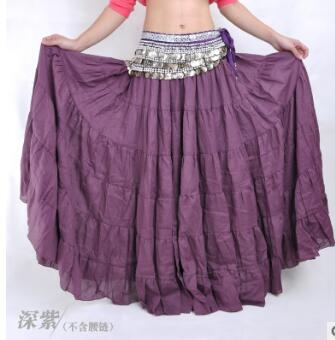 Picture of 2019 Belly Dance Stage Costume Gypsy Tribal Linen Skirt Dress 10 Colors High Quality 96Cm Length