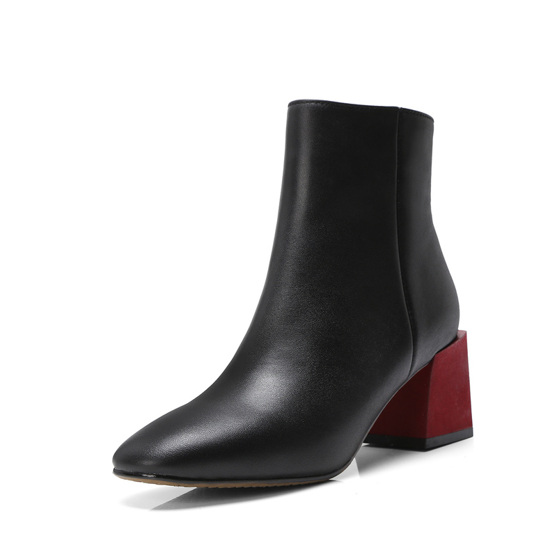 Bottes Rond Mode rouge Véritable Fermeture Carré Talon Cheville Salu Vert En De Dames Glissière Noir Bout Femmes Chaussures Cuir À SRAWdqc